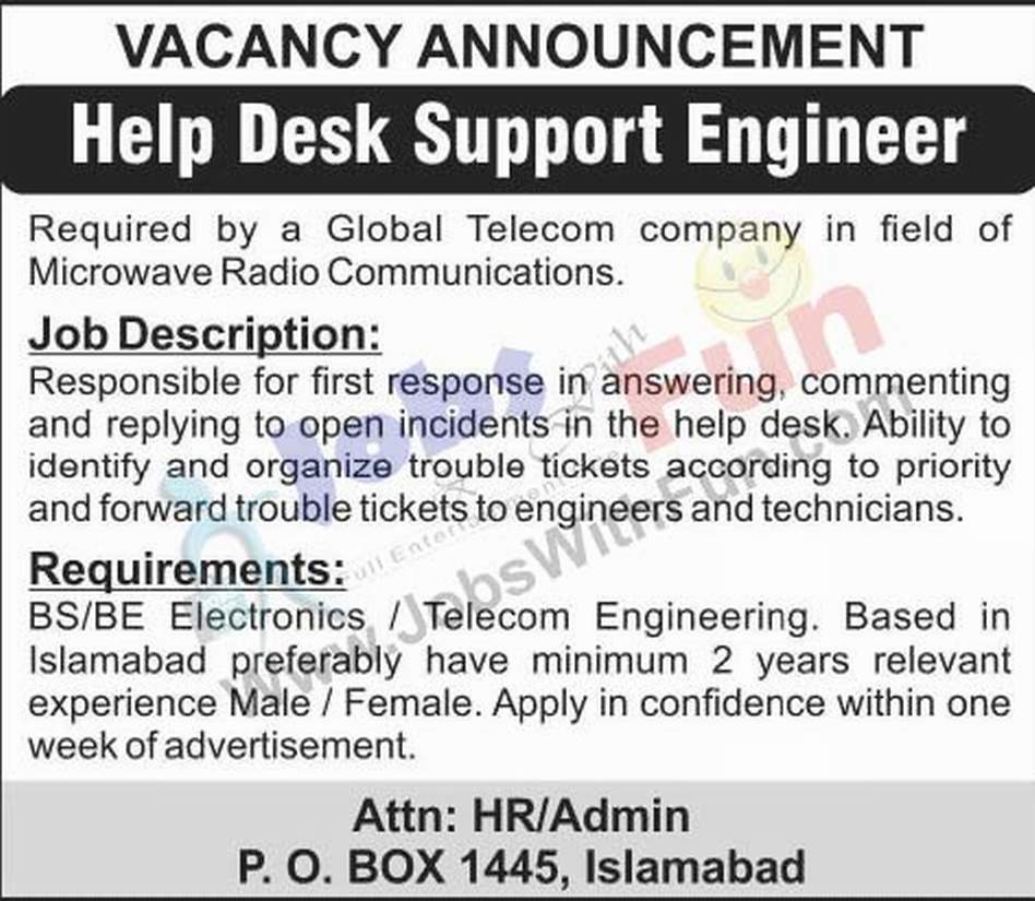 Help Desk Support Engineer Required For Global Telecom Company Islamabad |  Jobs | JobsWithFun.com