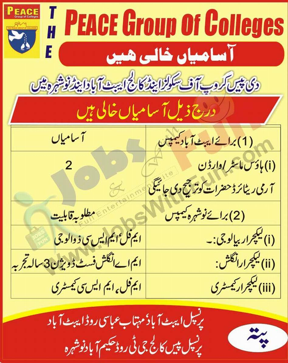 Job Opportunities In The Peace Group Of Schools And Colleges Abbottabad Nowshera