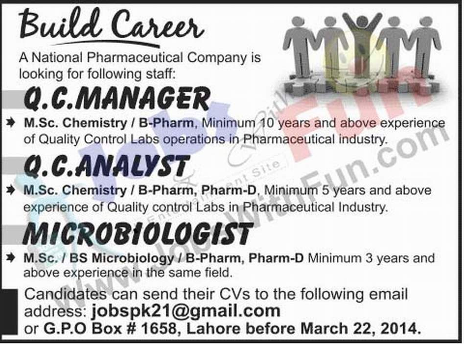Jobs In National Pharmaceutical Company Lahore | Jobs