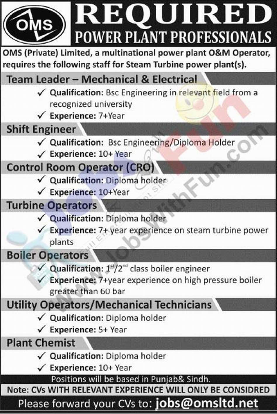 Jobs In OMS Private Limited A Multinational Power Plant
