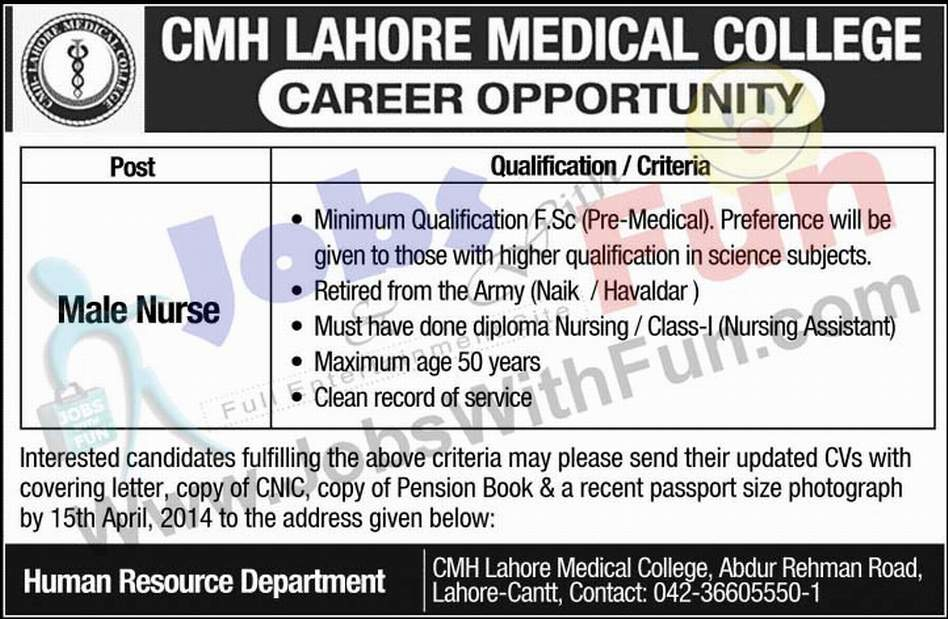 male nurse jobs in cmh lahore medical college hr department lahore