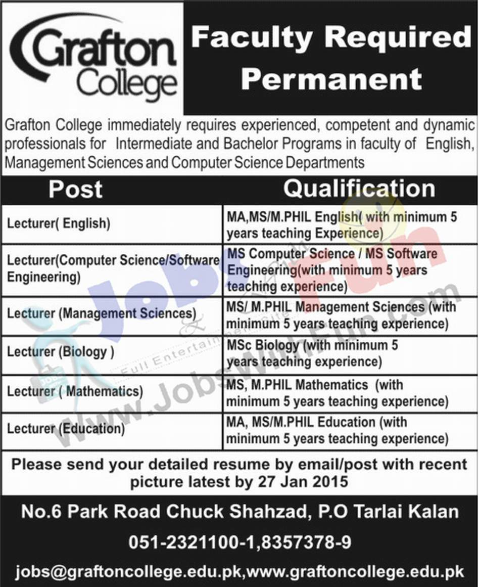 permanent faculty required in grafton college for various departments tarlai kalan jobs jobswithfuncom - Resume M Phil Computer Science