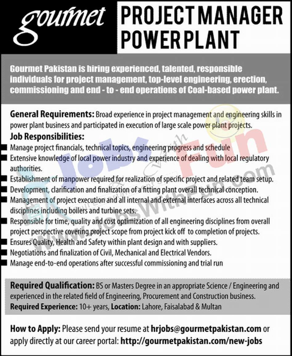 Project manager power plant in gourmet pakistan lahore faisalabad project manager power plant in gourmet pakistan lahore faisalabad and multan jobs jobswithfun 1betcityfo Gallery