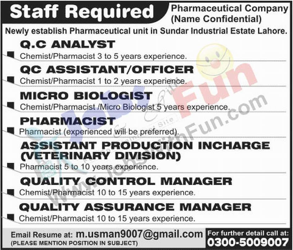 Staff Required For Pharmaceutical Company Sundar Industrial