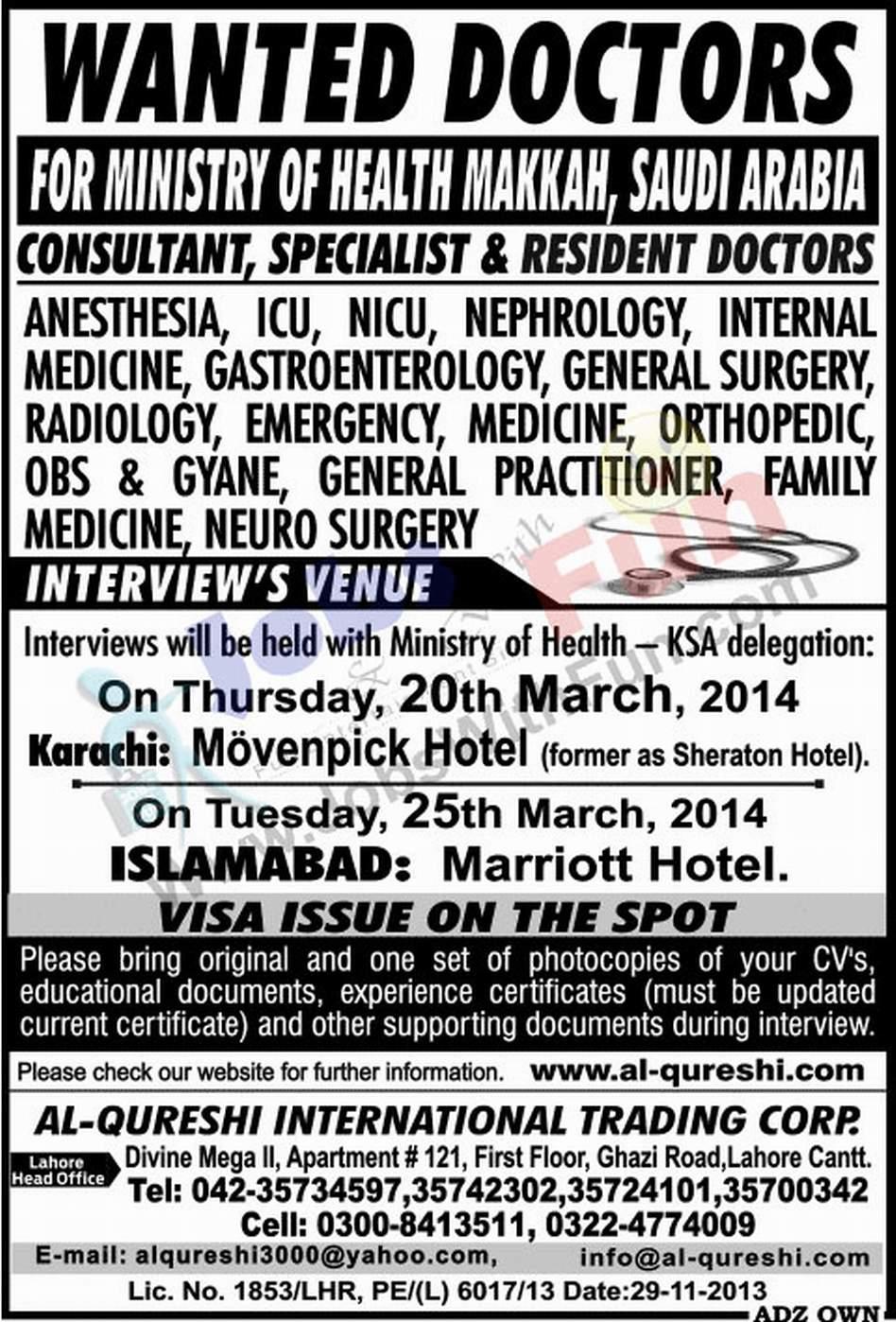 Wanted Doctors For Ministry Of Health Makkah Saudi Arabia